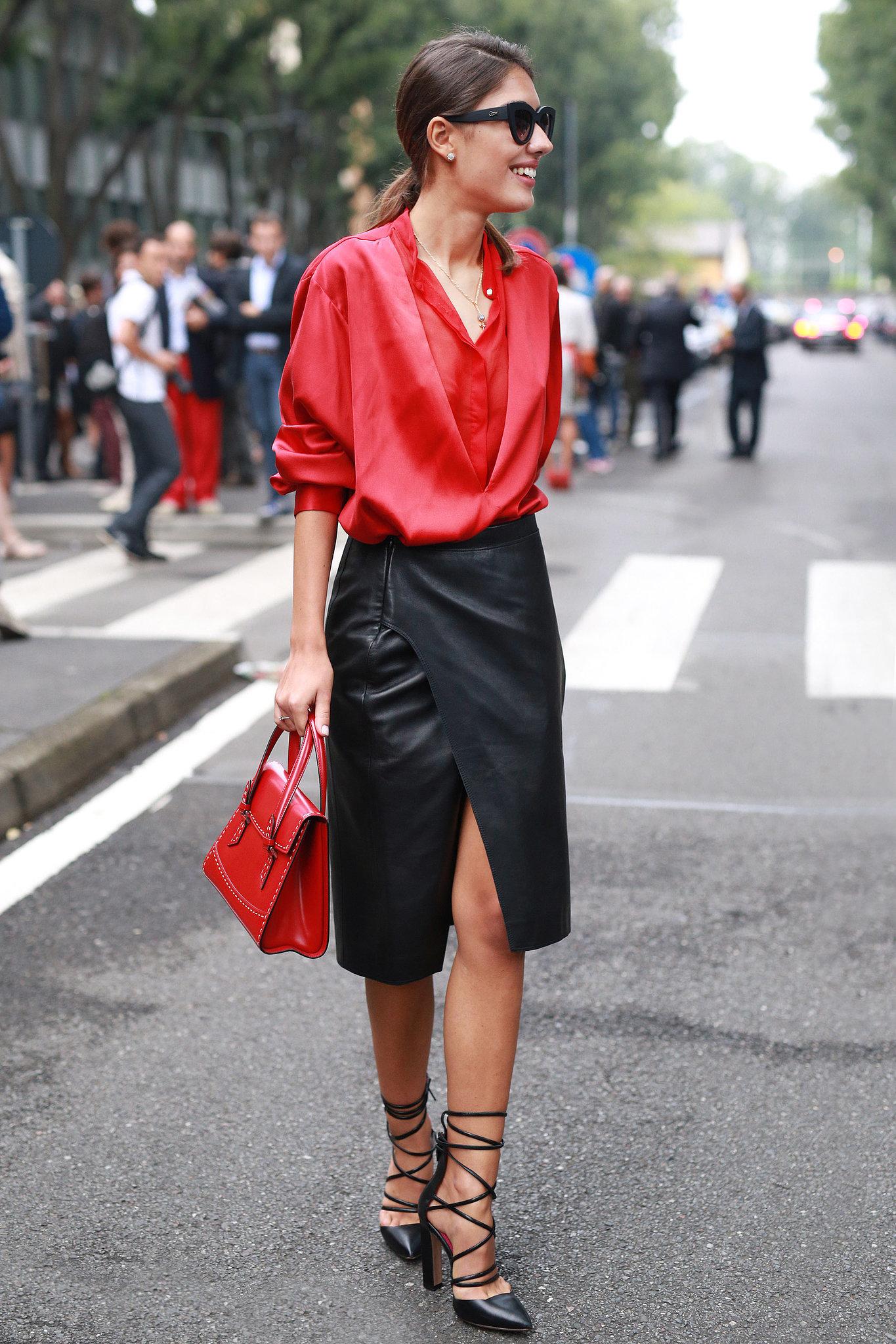 Фото новинки: сочетание красного и черного цветов в одежде