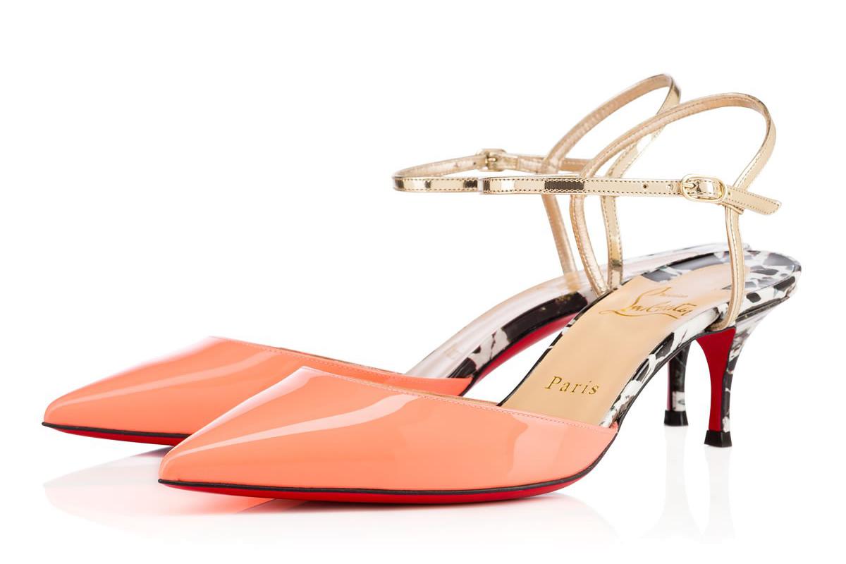 Розовые туфли Лубутены на низком каблуке - модель Rivierina