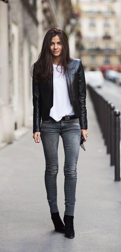 Весенняя женская кожаная куртка 2016 с узкими джинсами дудочками - фото новинки и тренды весны 2016