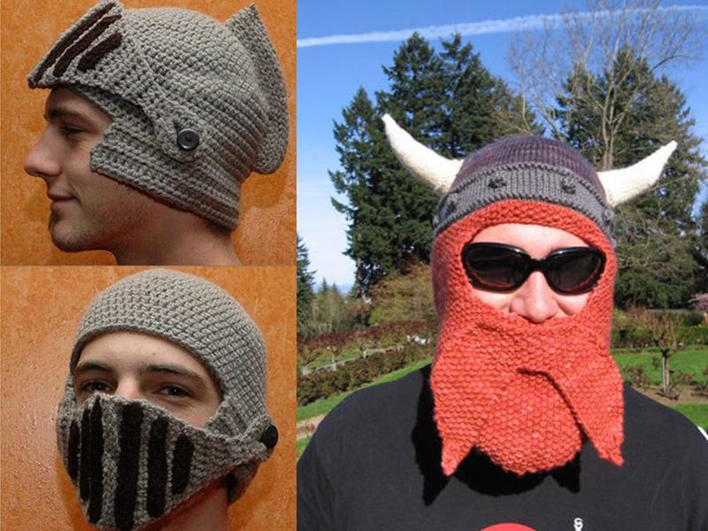 Своим близким можно связать на 1 апреля смешные шапочки, с ушками, рожками или как у викинга.