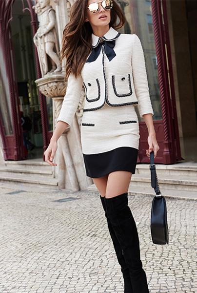 Новая коллекция Love Republic - короткий жакет с юбочкой и отделкой по краю жакета и юбки в стиле Шанель.