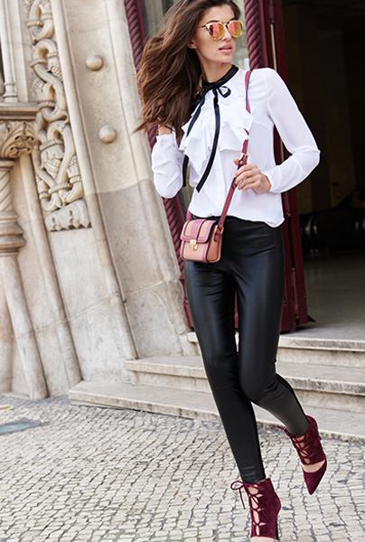 Новая коллекция Love Republic - современные модные кожаные брюки в стиле Шанель.
