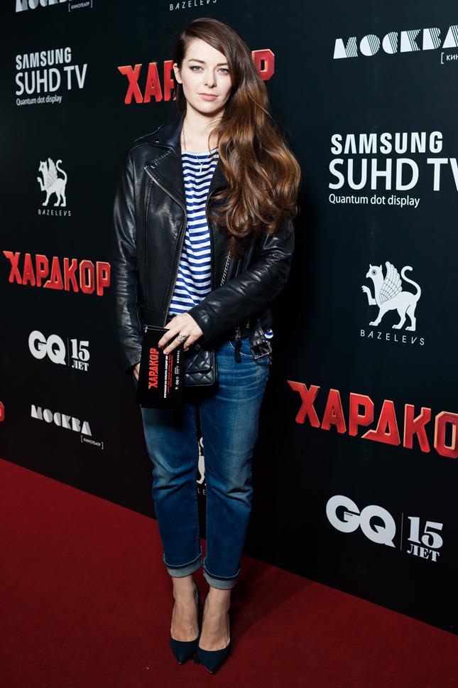 Новый модный стиль российского шоу-бизнеса Марина Александровна в куртке косухе.