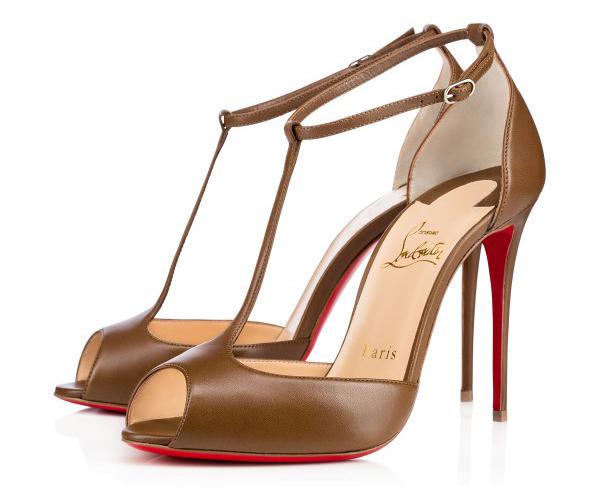 Новая интересная новинка- от Кристиана Лубутена туфли в стиле nude, коричневые босоножки на высоком каблуке.
