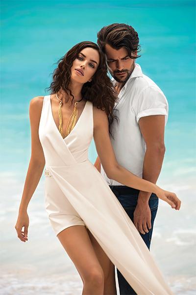 Новая летная коллекция Love Republic Ирина Шейк в белом платье.