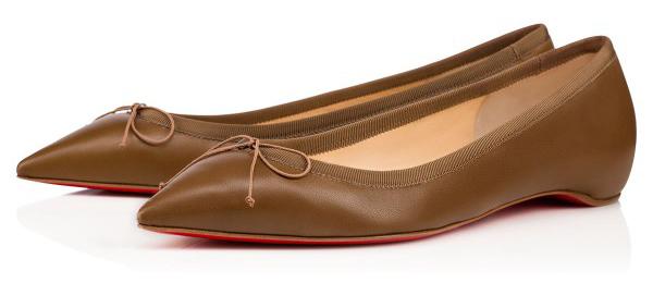 Новая интересная новинка- от Кристиана Лубутена туфли в стиле nude, коричневые балетки.