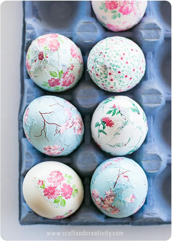 Цветочное украшение пасхальных яиц.