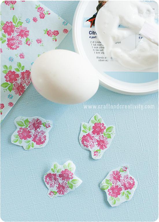Другая техника цветочного украшения пасхальных яиц.