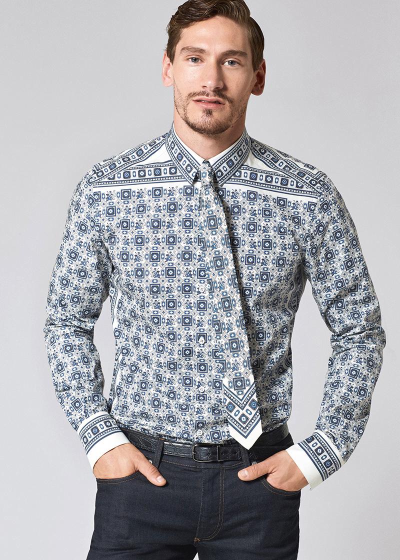 Джинсовые рубашки Dolce&Gabba в яркую бело-синюю расцветку