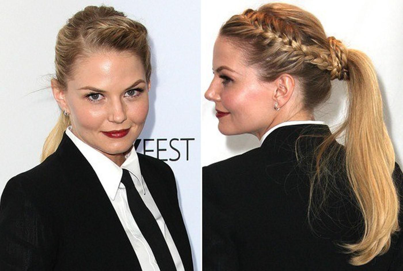 Прически на длинные волосы - хвост заплетенный в две косы и уложенные на затылке.