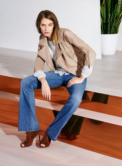 Новый модный LookBook весна-лето 2016 Karen Millen - куртка косуха и джинсы.