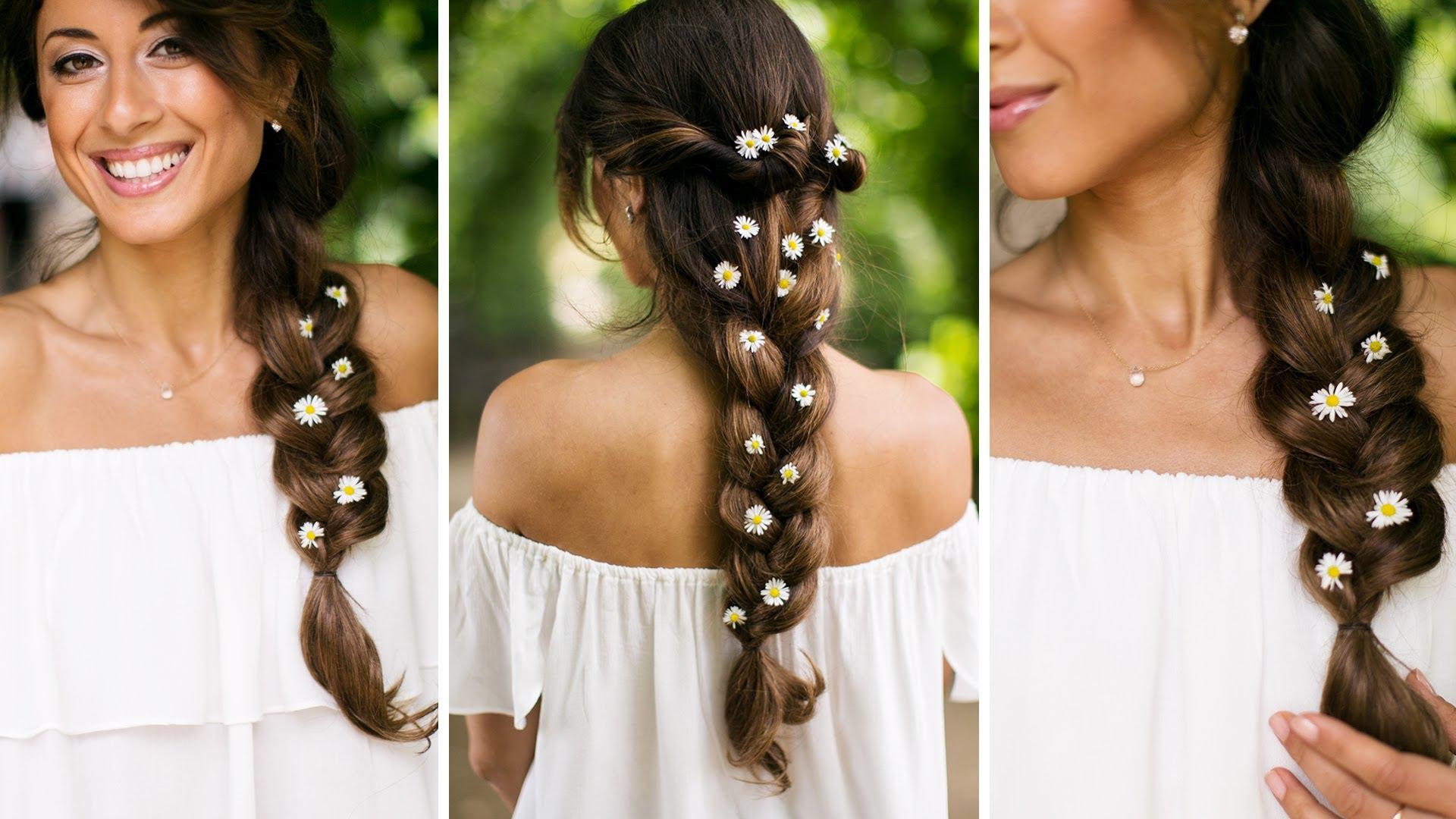 Прически на длинные волосы - коса наоборот.