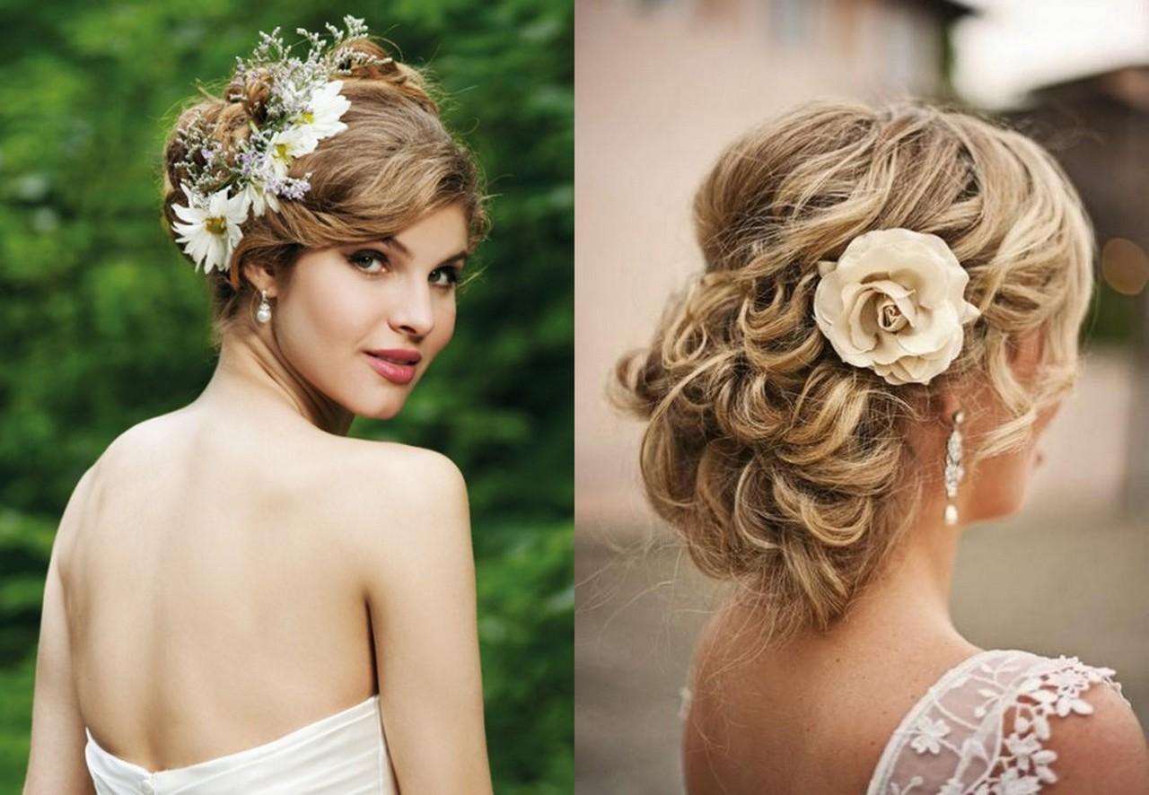 Прически на среднюю длину волос на свадьбу