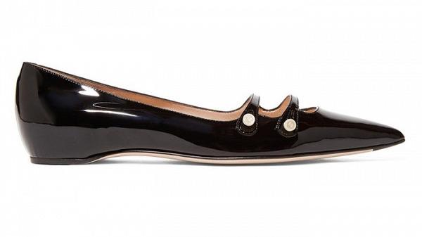 Туфли на низком каблуке черного цвета с двойным ремешком с кнопками из коллекции Gucci .
