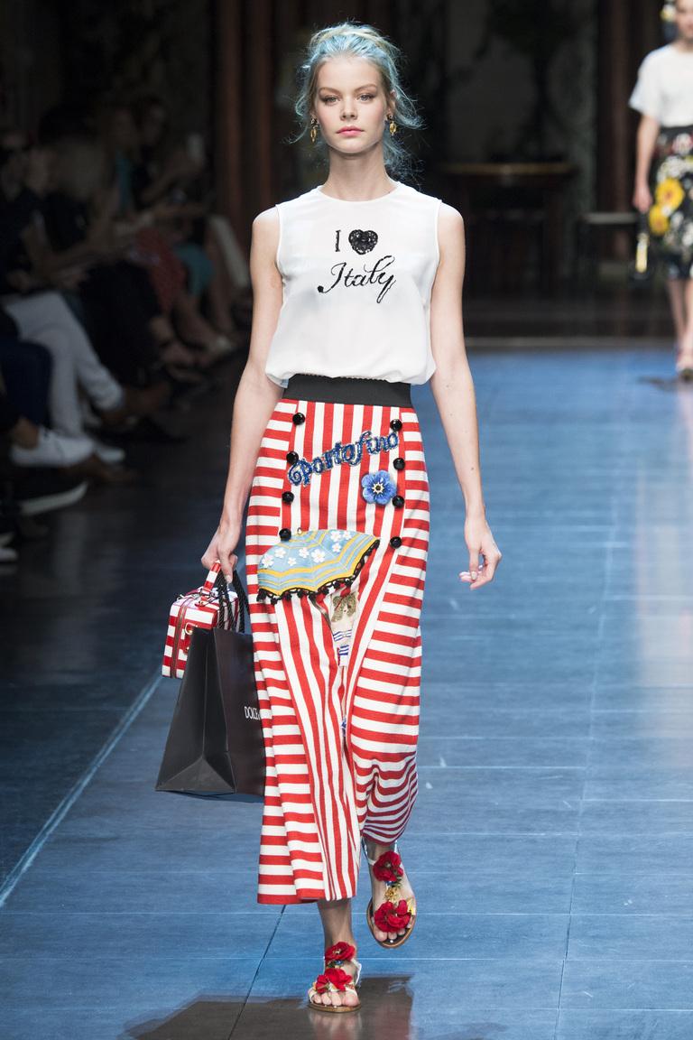 Юбка с горизонтальными и вертикальными полосками из коллекции Dolce & Gabbana.
