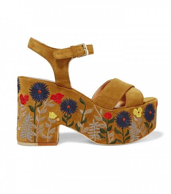 Сандалии на внушительной платформе с дизайном в цветочном стиле от Laurence-Dacade.