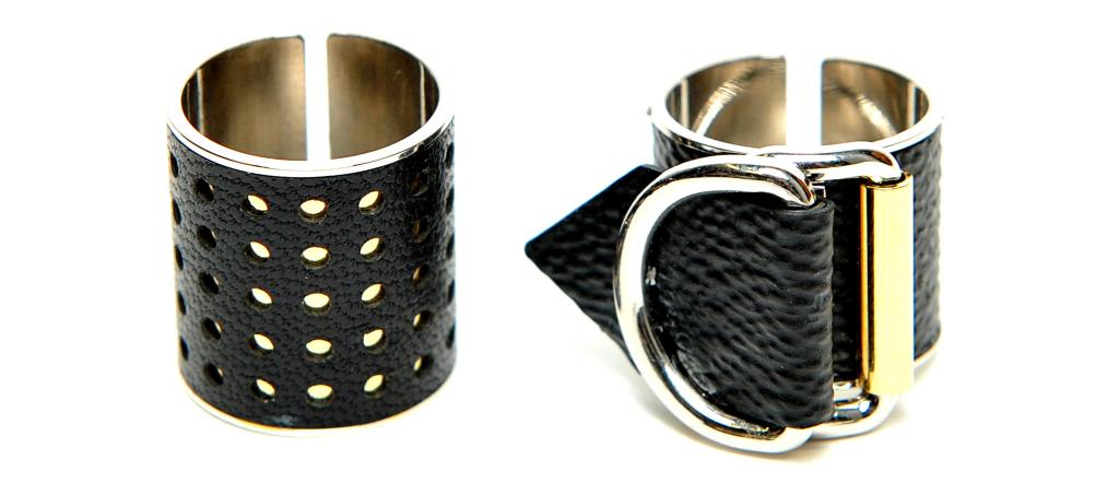 Louis Vuitton обратился к брутальности и готике. Кольцо с металлическим основанием обтянуто перфорированной кожей.