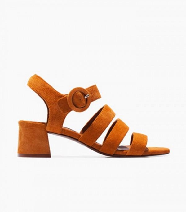 Сандалии оранжевого цвета на массивным каблуке Uterque.