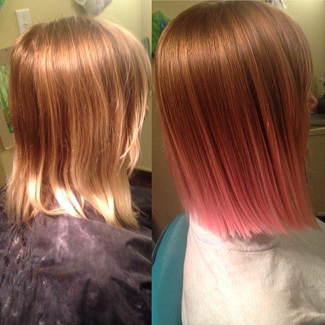 Стрижки боб на среднюю длину прямых волос и использование эффекта окрашивания омбре.