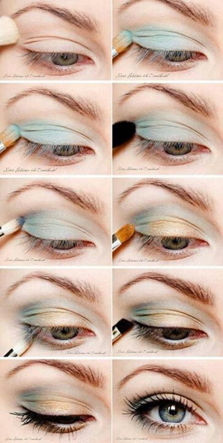 На фото: тени длясеро-голубых глаз.