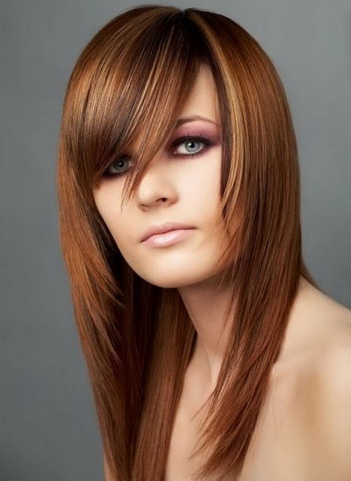 Модные прически с длинными волосами с челкой фото
