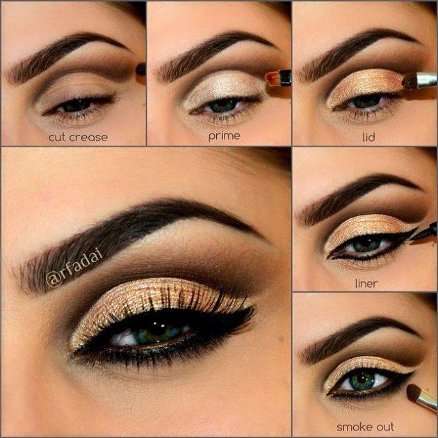 На фото: пример модного макияжа глаз для вечернего выхода в свет.