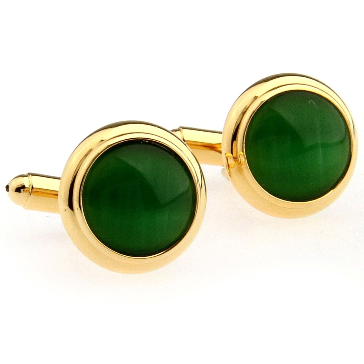 На фото: ювелирные изделия - запонки из камня зеленый опал.