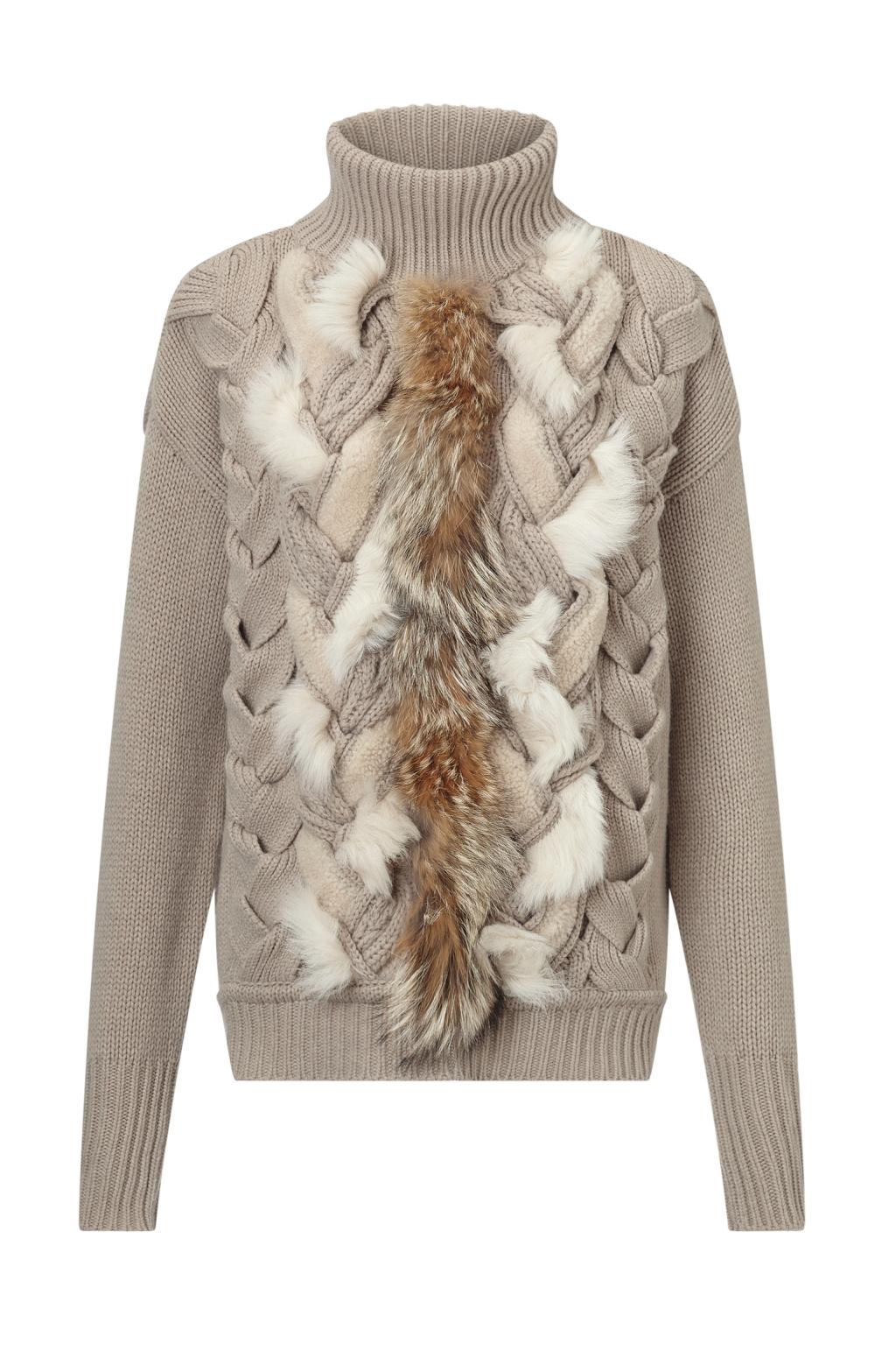 Модный свитер с обьемным вязаным рисунком тренд сезона из коллекции Belstaff..