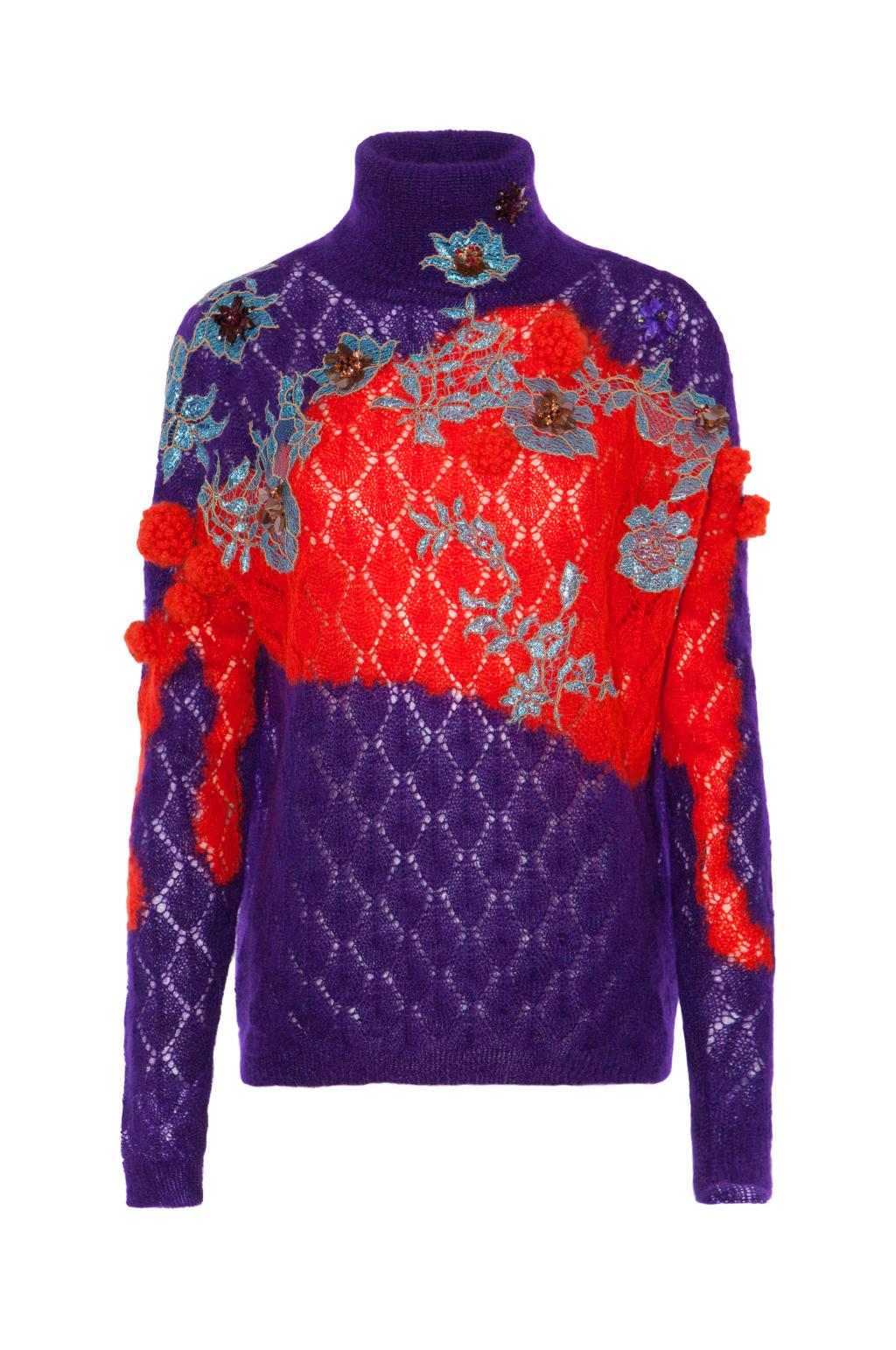 Модный разноцветный свитер тренд сезона из коллекции Delpozo.