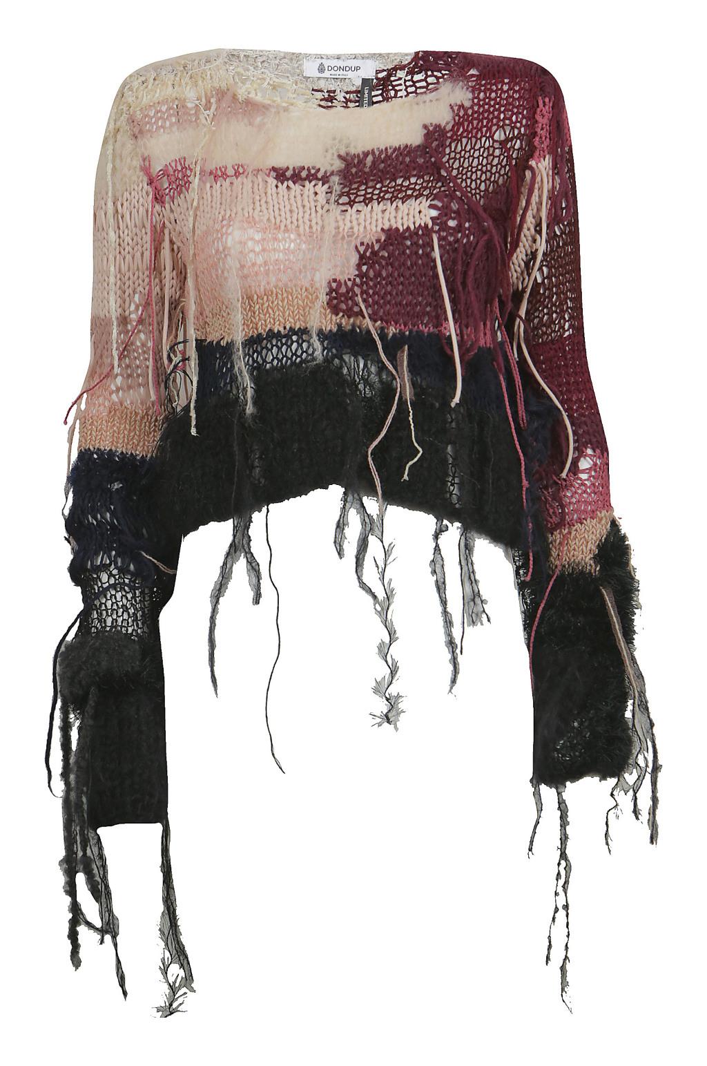 Модный короткий разноцветный свитер с торчащими нитями тренд сезона из коллекции Dondup.