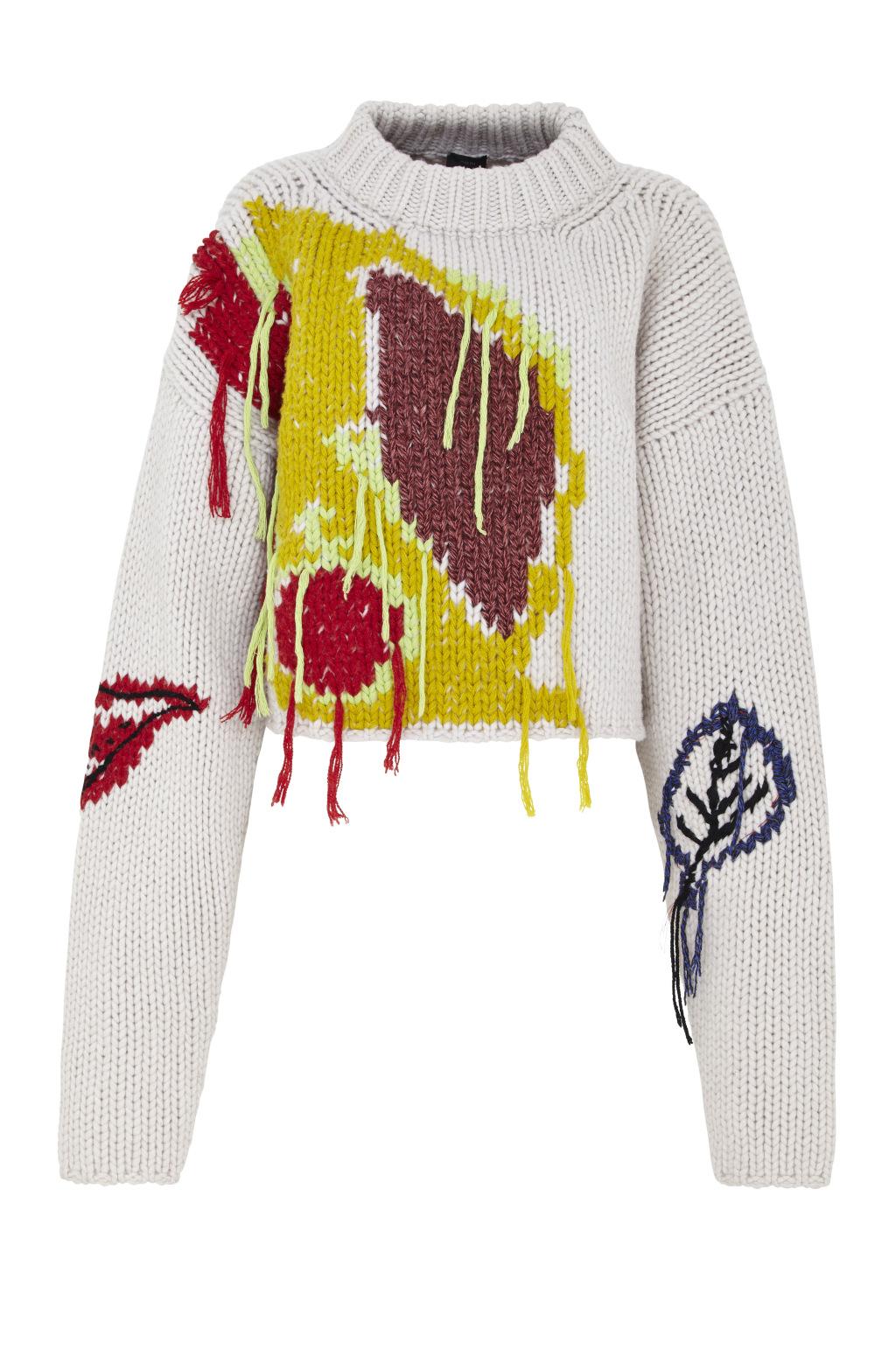 Модный бежевый свитер с длинными рукавами украшеный геометрическими рисунками тренд сезона из коллекции JOSEPH..