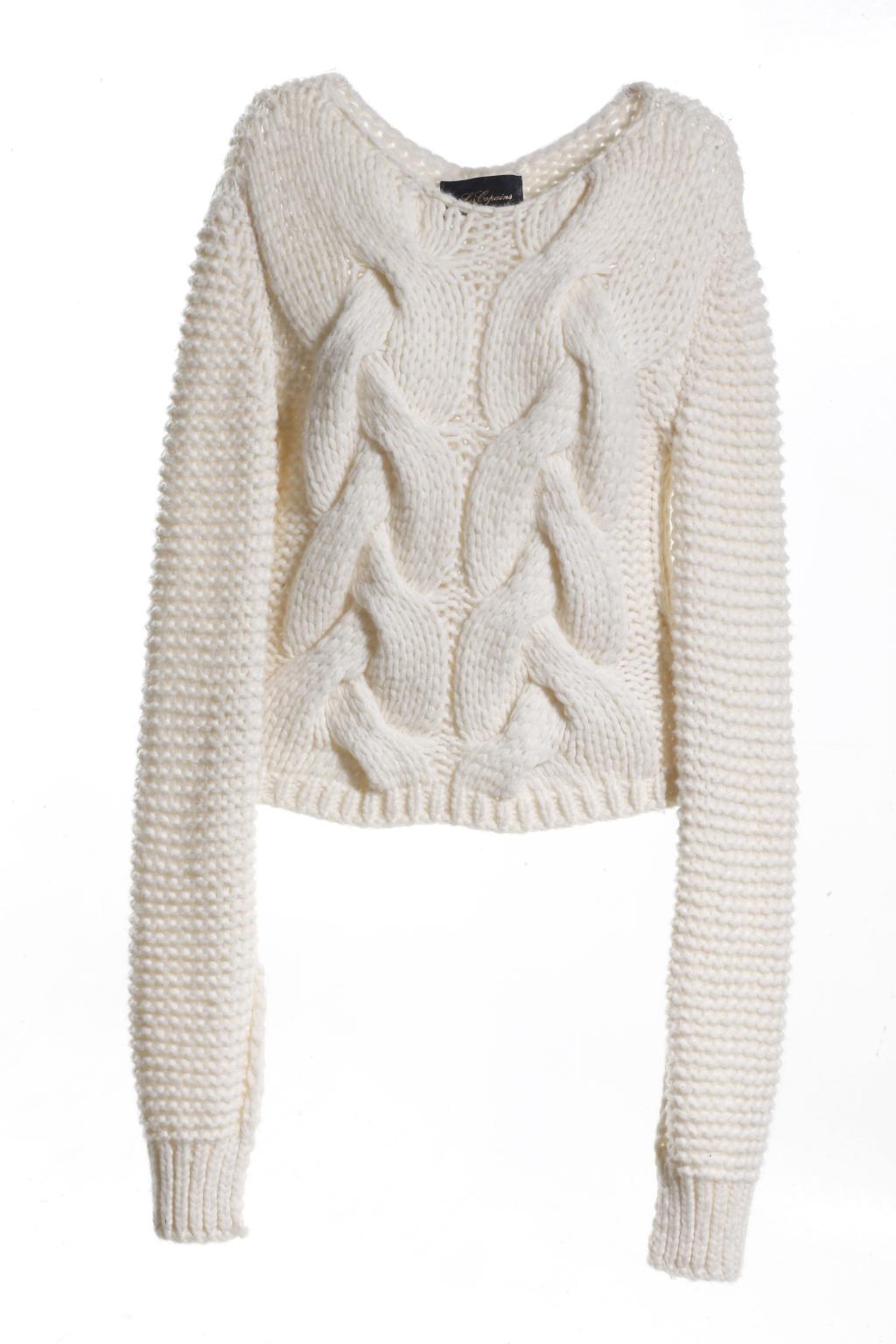 Модный бежевый свитер с длинными рукавами тренд сезона из коллекции Les Copains.