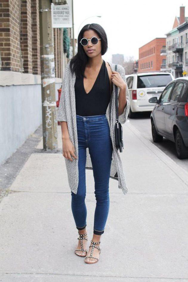 На фото: черный боди-топ с джинсами – трендовая новинка сезона.