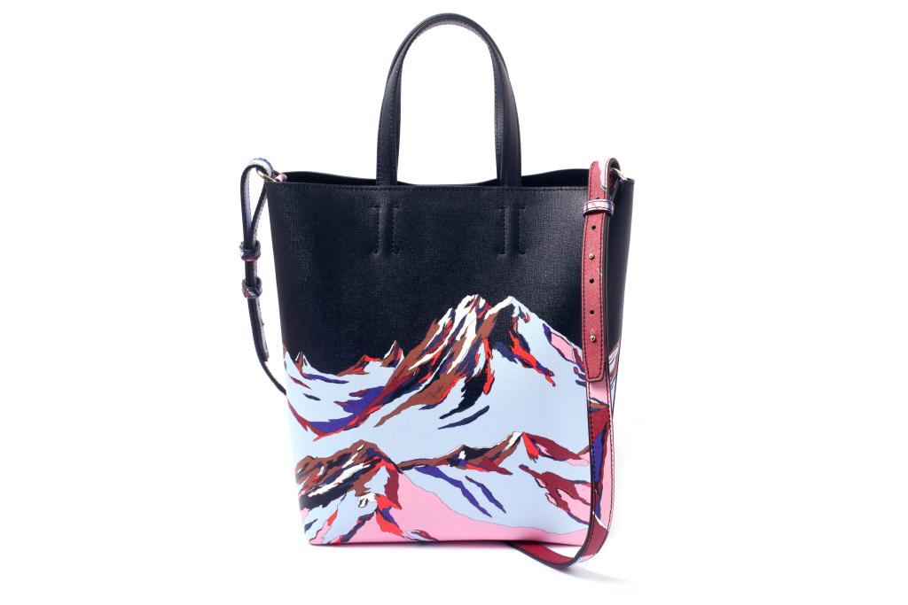 Большие сумки: модные тренды - сумка с размытыеми акварельныеми принтыами из коллекции Pucci.