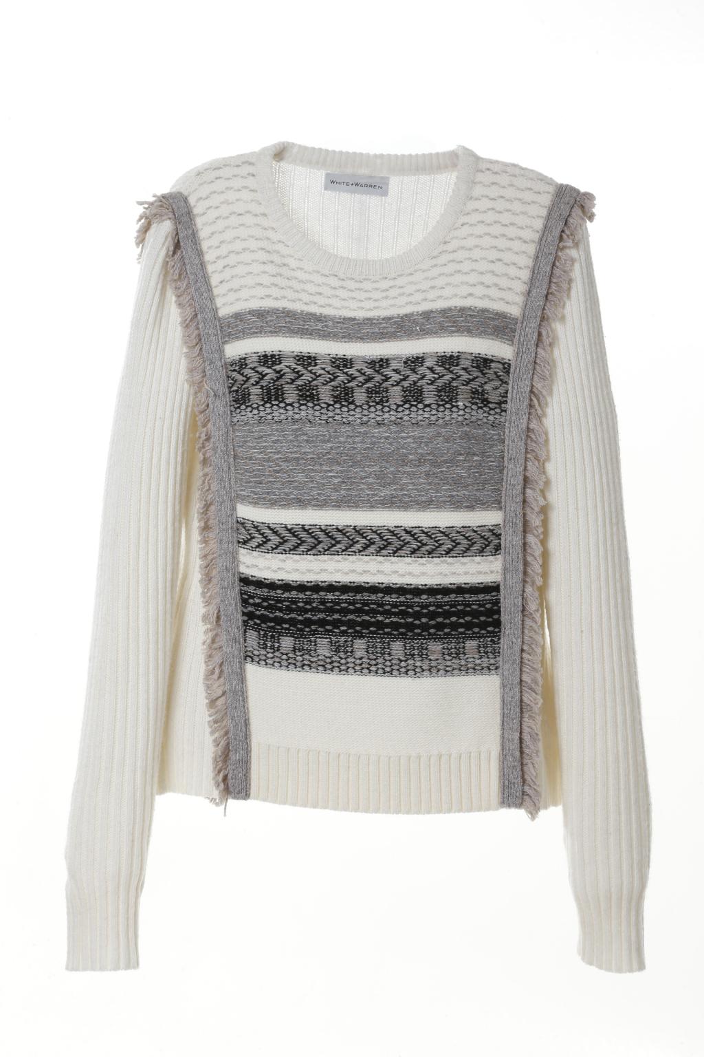Модный разноцветный свитер тренд сезона из коллекции White + Warren.