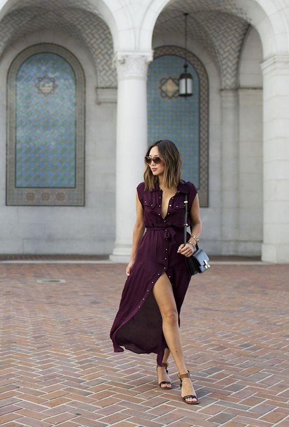 На фото: разрез на платье длиной миди - новый тренд сезона.