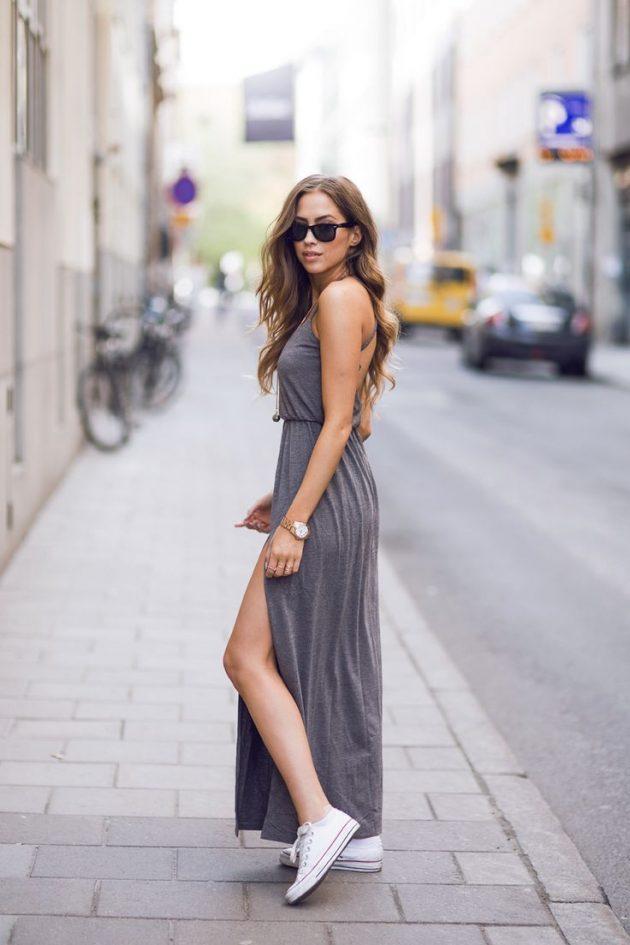 На фото: разрез на длинном платье - новый тренд сезона