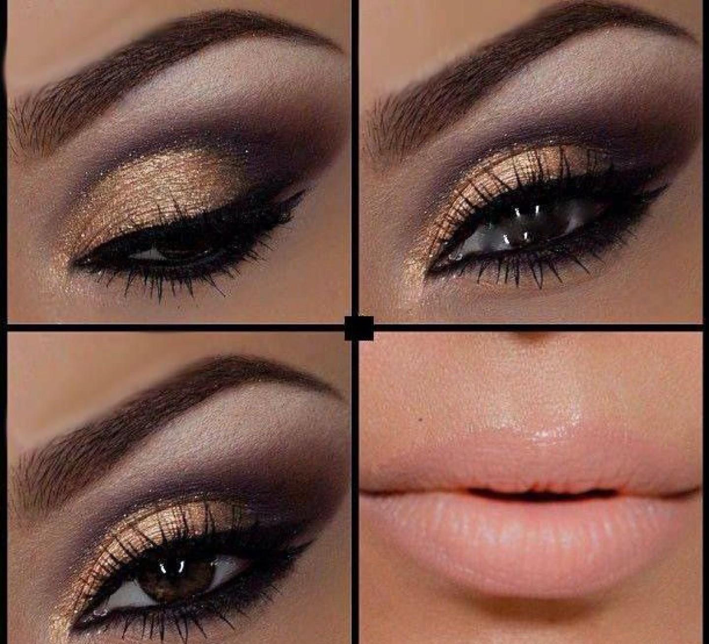 Темный макияж на выпускной для карих глаз