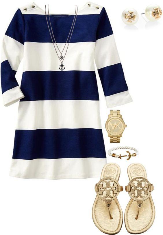 На фото: новый летнихй лук в морском стиле - полосатое платье самый простой способ быть в тренде.