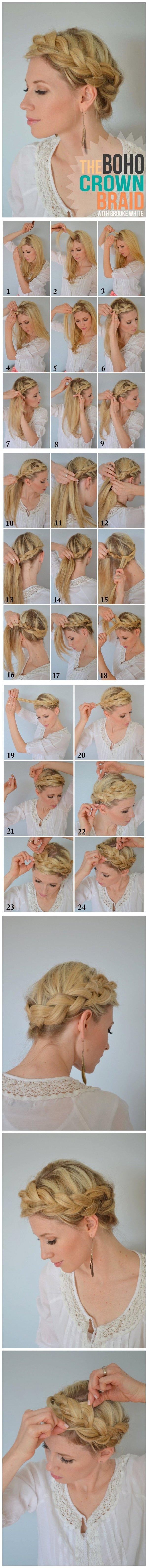 На фото: пошаговый мастер-класс плетения причёски с косой.