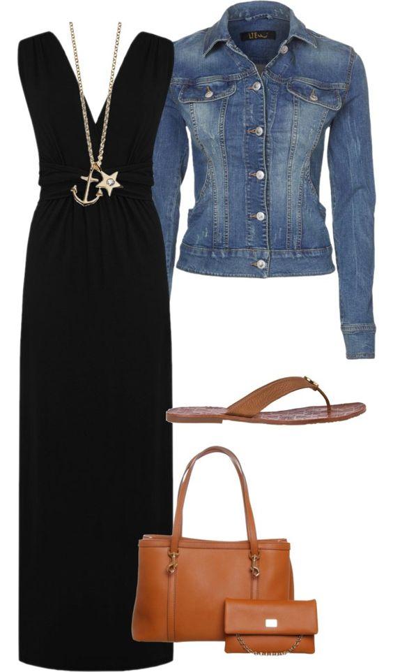 На фото: новый лук с длинным черным платьем с джинсовой курткой.