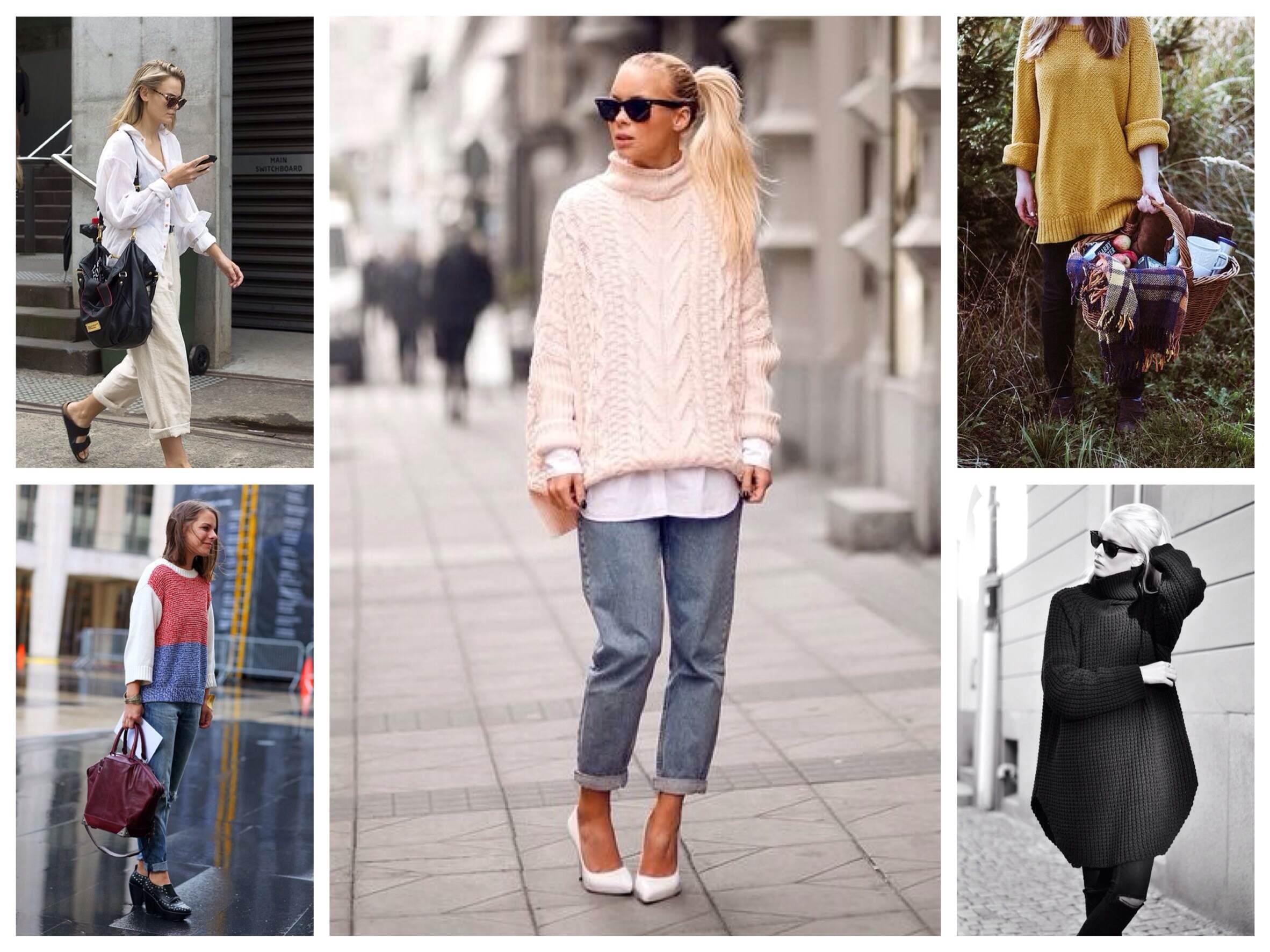 На фото: свитер в стиле оверсайз в 2016 году вошло в топ 3 самых востребованных и популярных фасонов.