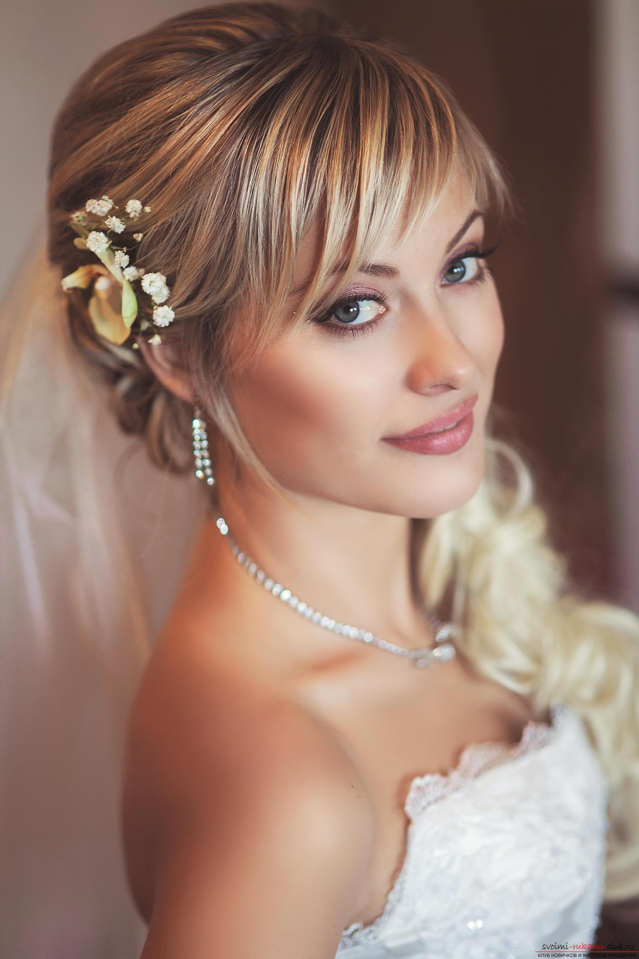 Свадебные причёски с челкой с фатой