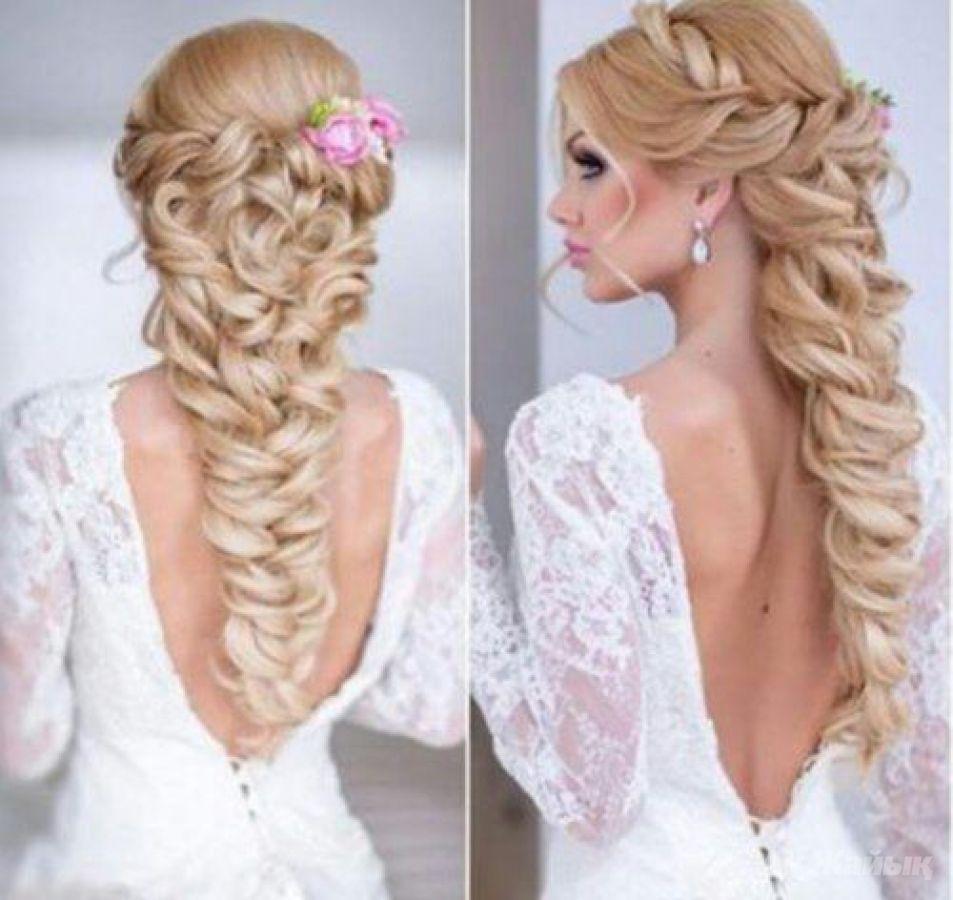 Фото свадебной прически коса