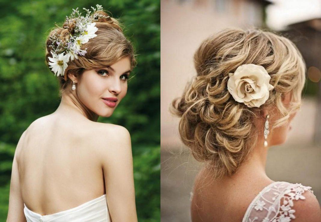 Фото свадебных причесок для средней длины волос