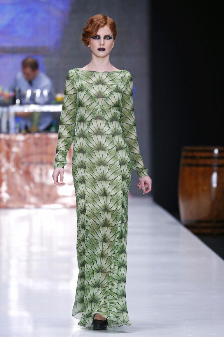 Длинное шифоновое платье с геометрическим рисунком - коллекция 2017 Ksenia Knyazeva
