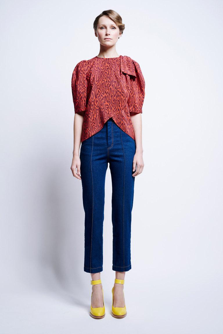 Синие обтягивающие укороченные брюки 2017 из коллекции Karen Walker