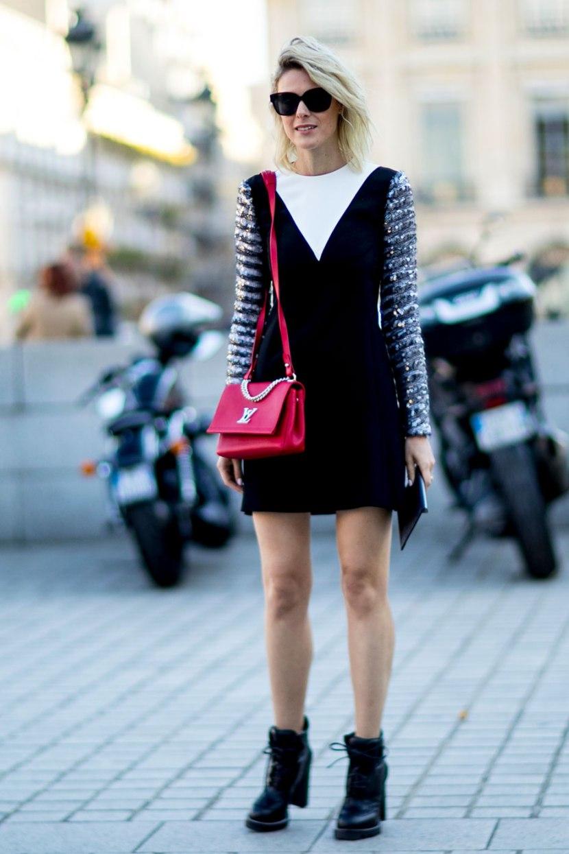 Короткое модное платье - фото уличной моды