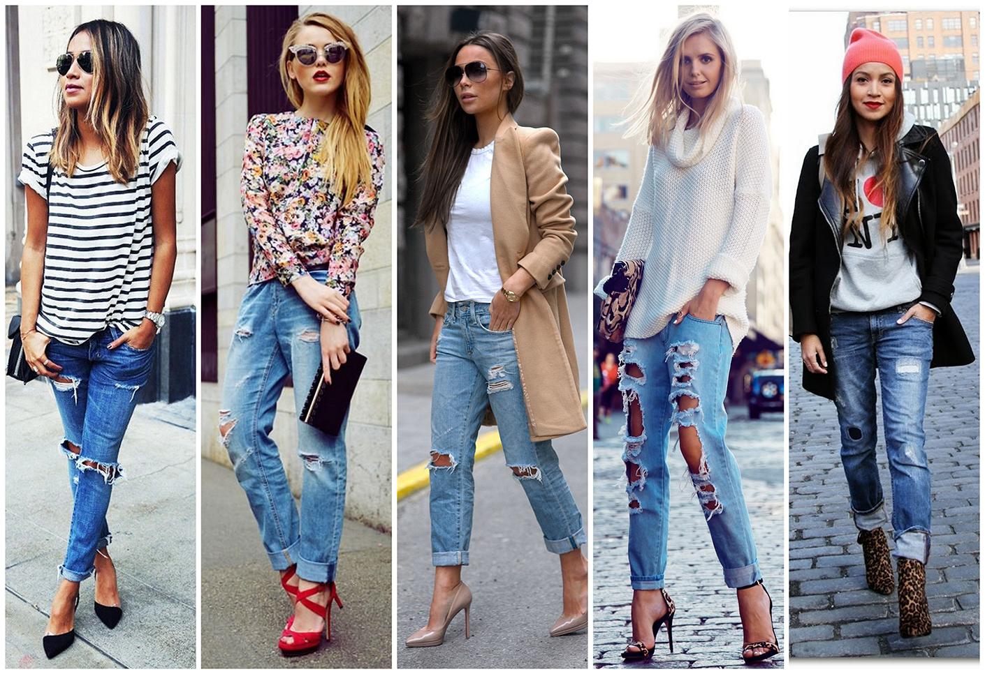 Фото модных сочетаний рваных джинсов 2017 в разных стилях