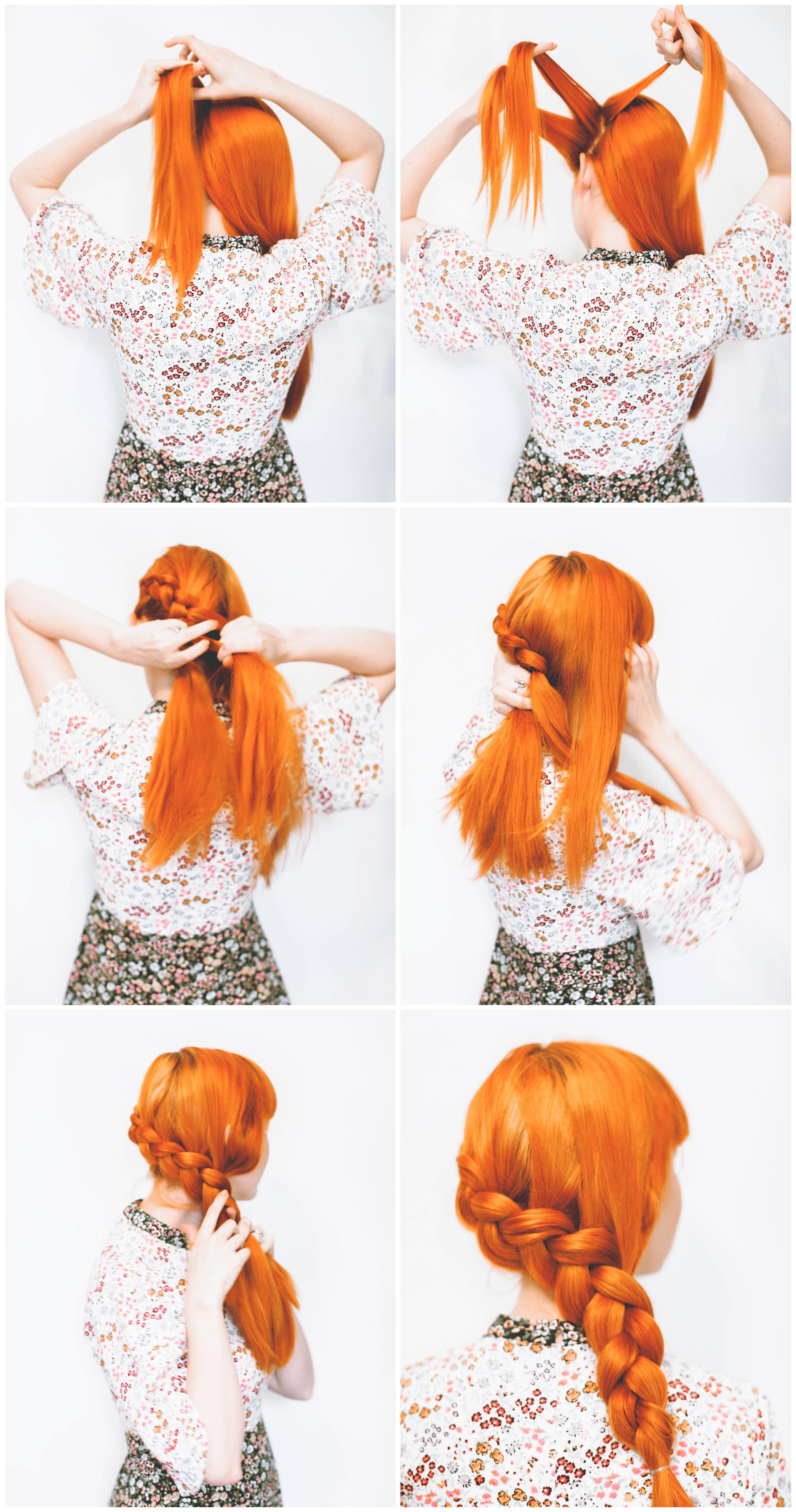 Красивая прическа со средними волосами с косой на бок - фото мастер класса